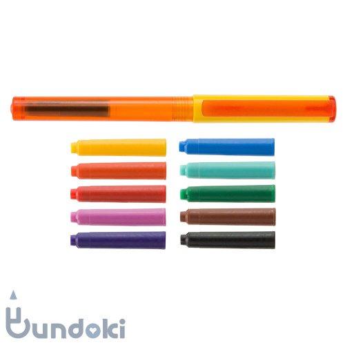 【Viva pen】Space万年筆 &インクカートリッジ10色セット (イエロー×オレンジ)