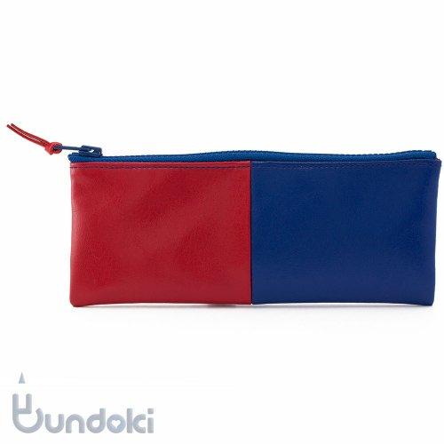 【yuruliku/ユルリク】赤青ペンケース flat/Lサイズ
