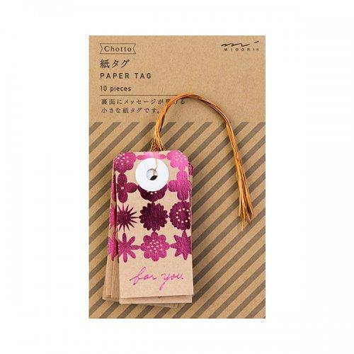 【MIDORI/ミドリ】Ch 紙タグ 花柄 (ピンク)