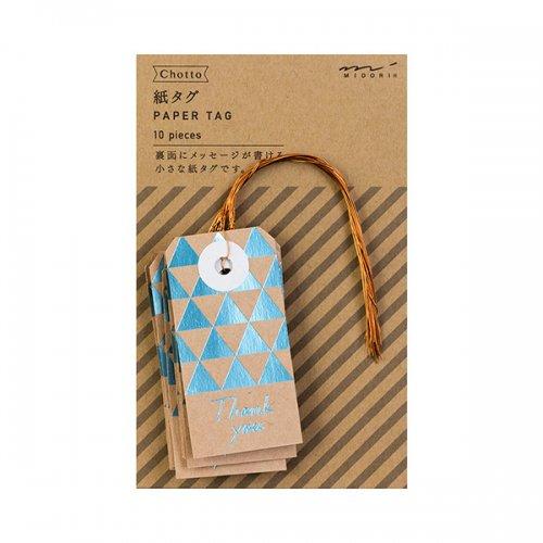 【MIDORI/ミドリ】Ch 紙タグ 三角柄 (水色)