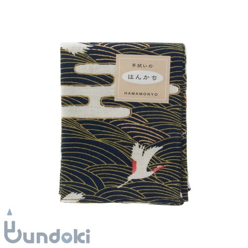 【濱文様】てぬぐいのはんかち/ 波鶴紋