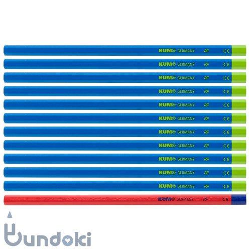 【KUM/クム】KUM 鉛筆 2B / 鉛筆11本+赤鉛筆1本 (軸色:ブルー)