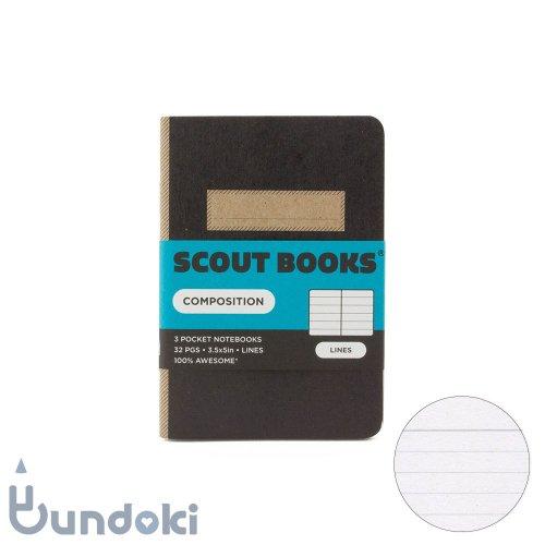 【SCOUT BOOKS/スカウトブックス】Composition Series・パスポートサイズ3冊セット (ブラック)