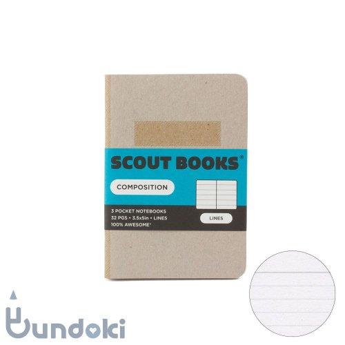 【SCOUT BOOKS/スカウトブックス】Composition Series・パスポートサイズ3冊セット (ホワイト)