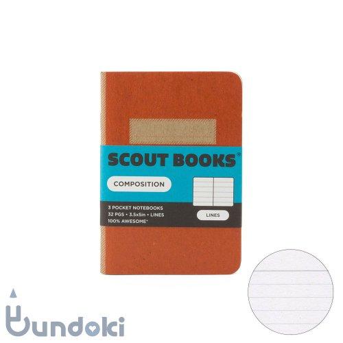 【SCOUT BOOKS/スカウトブックス】Composition Series・パスポートサイズ3冊セット (オレンジ)