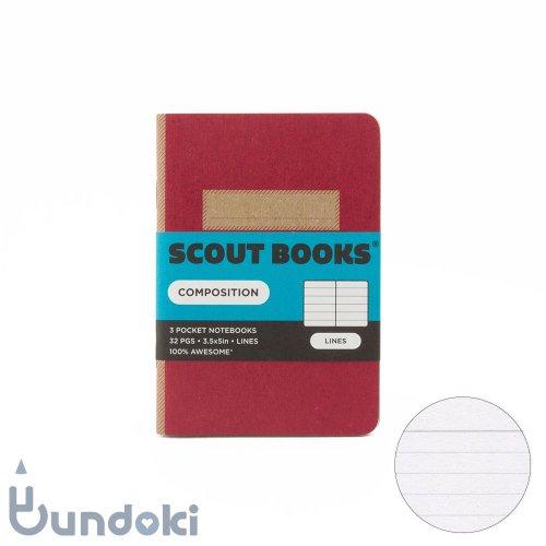 【SCOUT BOOKS/スカウトブックス】Composition Series・パスポートサイズ3冊セット (マゼンタ)