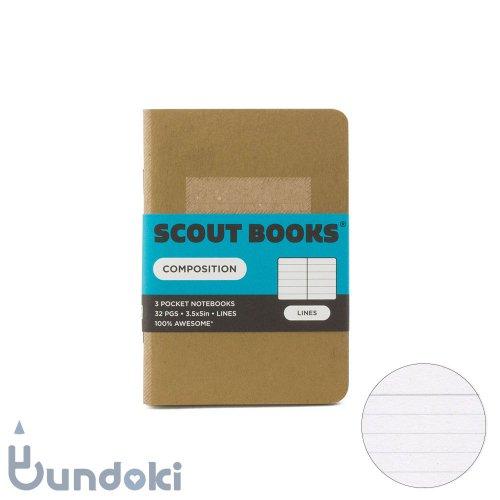 【SCOUT BOOKS/スカウトブックス】Composition Series・パスポートサイズ3冊セット (ゴールド)