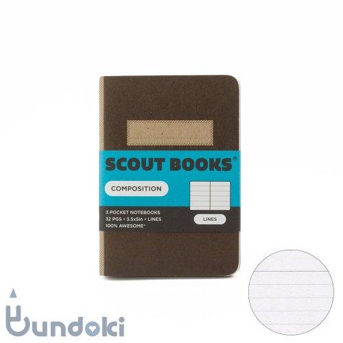 【SCOUT BOOKS/スカウトブックス】Composition Series・パスポートサイズ3冊セット (ブラウン)
