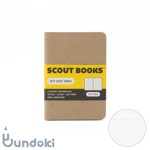 【SCOUT BOOKS/スカウトブックス】DIY Series・パスポートサイズ3冊セット (Dot Grid/ドット方眼)