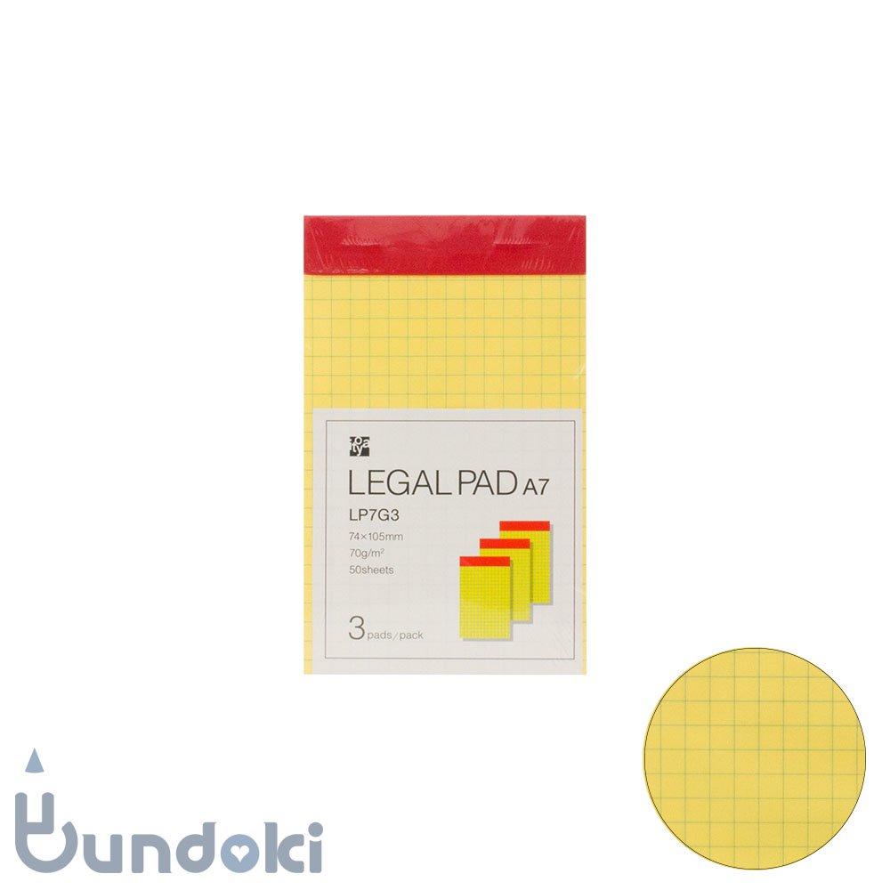 【ITO-YA/伊東屋】リーガルパッド A7・3冊パック (方眼)