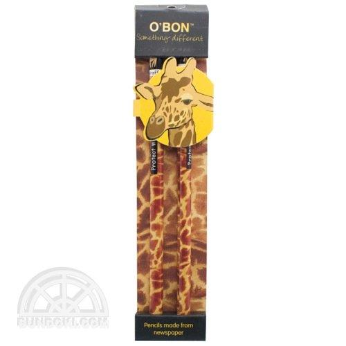 【O'BON/オーボン】新聞紙鉛筆/WILDLIFE・2本セット(キリン)