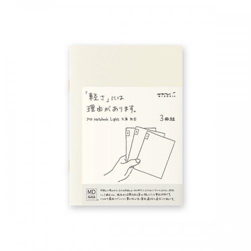 【MIDORI/ミドリ】MDノートライト・文庫サイズ (無罫) 3冊組