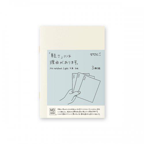 【MIDORI/ミドリ】MDノートライト・文庫サイズ (方眼罫) 3冊組