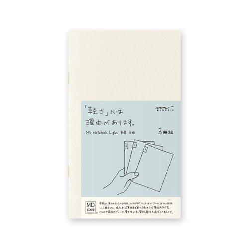 【MIDORI/ミドリ】MDノートライト・新書サイズ (方眼罫) 3冊組