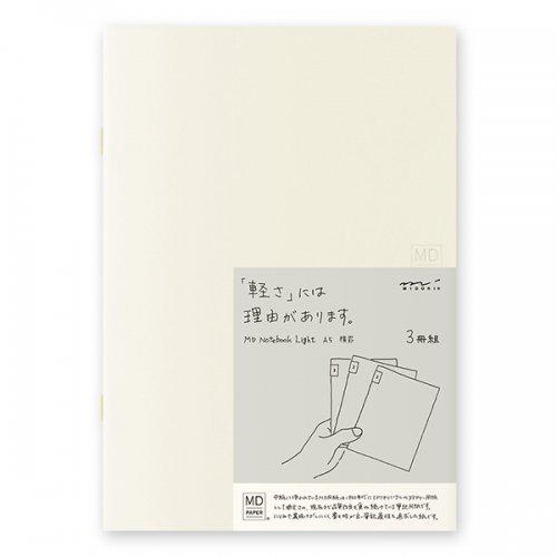 【MIDORI/ミドリ】MDノートライト・A5サイズ (横罫) 3冊組