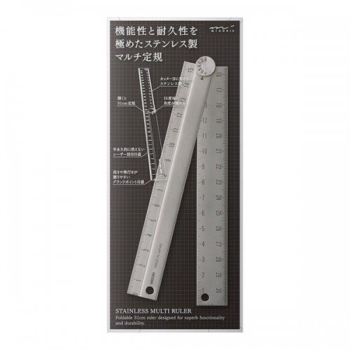【MIDORI/ミドリ】ステンレス マルチ定規 (31cm)