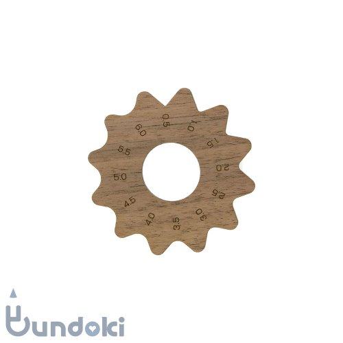 【工房 kiki】花びら面定規・アラビア数字 (ウォールナット)