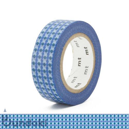 【カモ井加工紙/KAMOI】mt DECO マスキングテープ /ドットストライプ・ブルー
