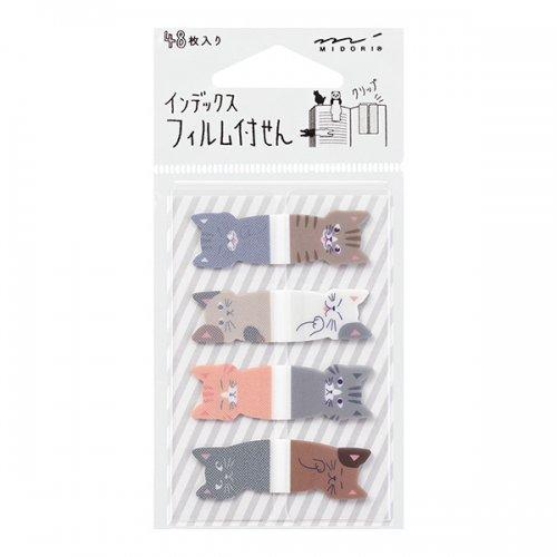 【MIDORI/ミドリ】付せん紙/フィルム インデックス (8ぴきのネコ柄)