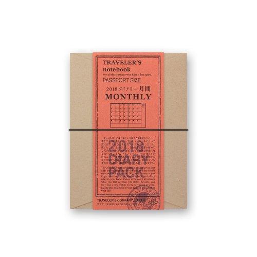 【MIDORI/ミドリ】トラベラーズノート パスポートサイズダイアリー・2018 月間 (黒)