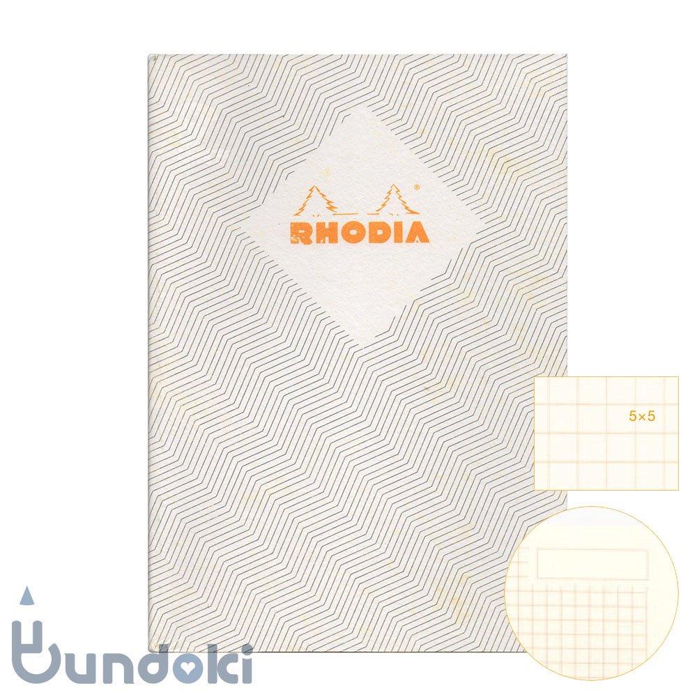 【RHODIA/ロディア】COLLECTION HERITAGE/ミシン綴じノートブック 方眼・A5 (シェブロン/アイボリー)