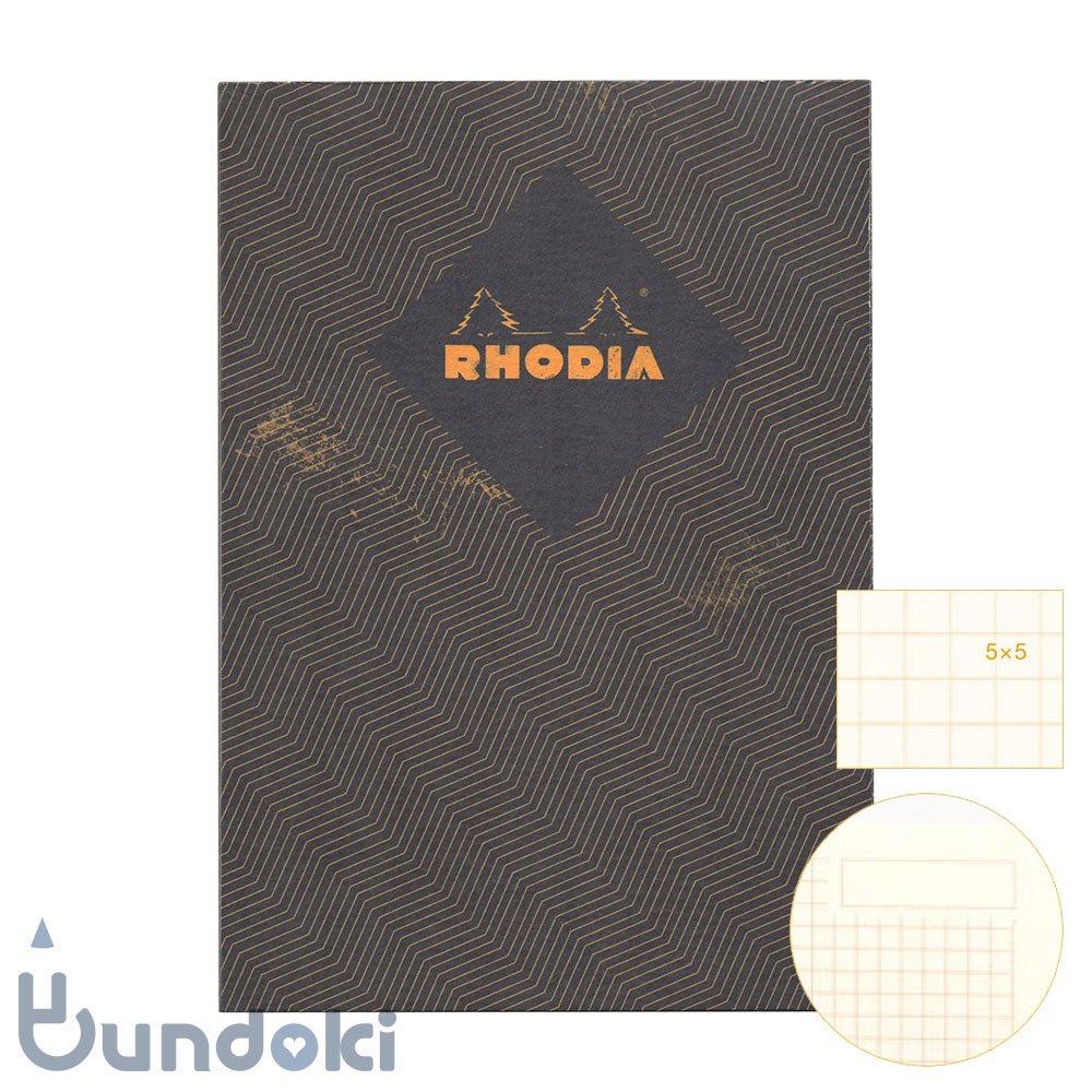 【RHODIA/ロディア】COLLECTION HERITAGE/ミシン綴じノートブック 方眼・A5 (シェブロン/ブラック)