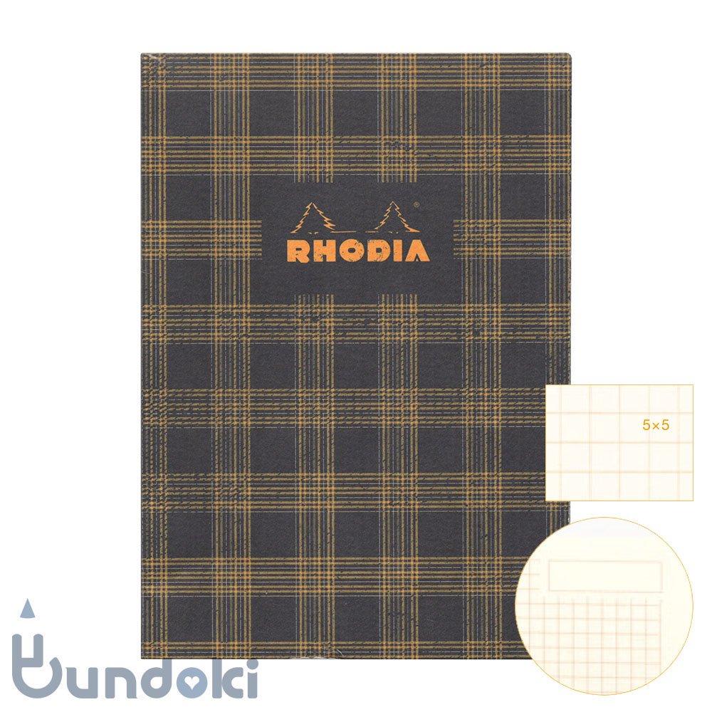【RHODIA/ロディア】COLLECTION HERITAGE/ミシン綴じノートブック 方眼・A5 (タータン/ブラック)