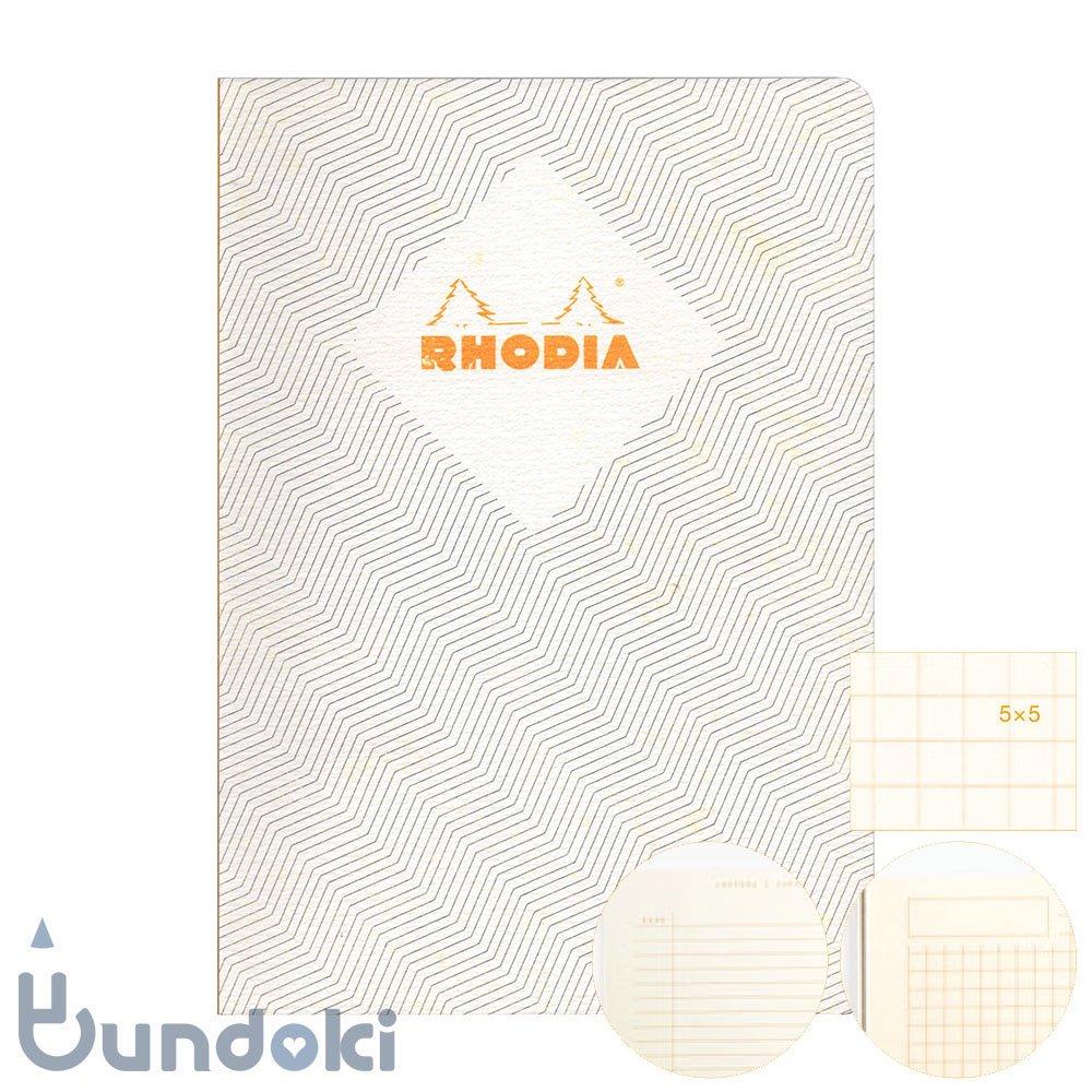 【RHODIA/ロディア】COLLECTION HERITAGE/かがり綴じノートブック 方眼・A5 (シェブロン/アイボリー)