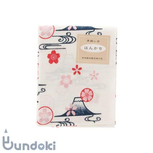 【濱文様】てぬぐいのはんかち/ 富士山桜紋