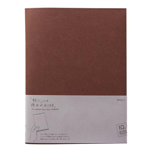 【MIDORI/ミドリ】MDノートカバー<A4変形判> 10th 紙 こげ茶