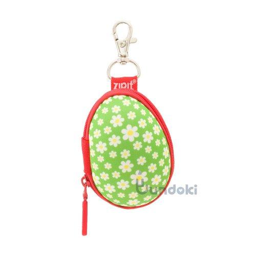 【Zip It/ジップイット】エッグミニポーチ (グリーンフラワー)