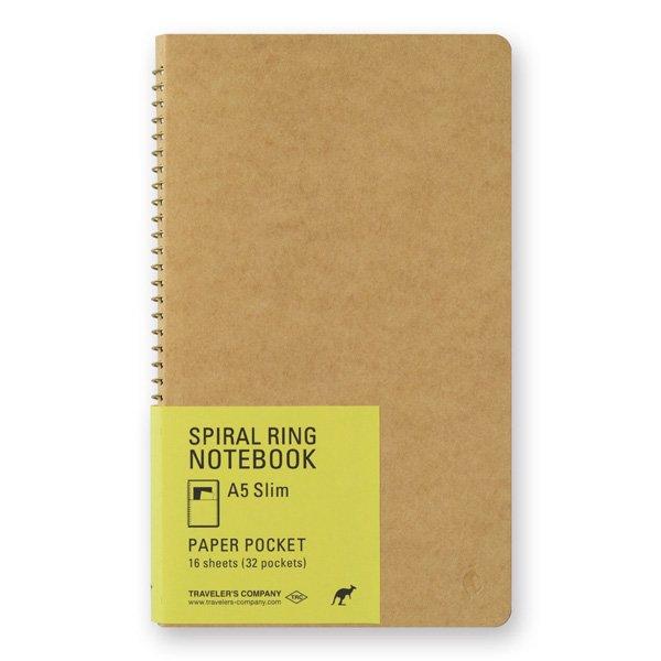 【MIDORI/ミドリ】TRC スパイラルリングノート<A5スリム> ペーパーポケット
