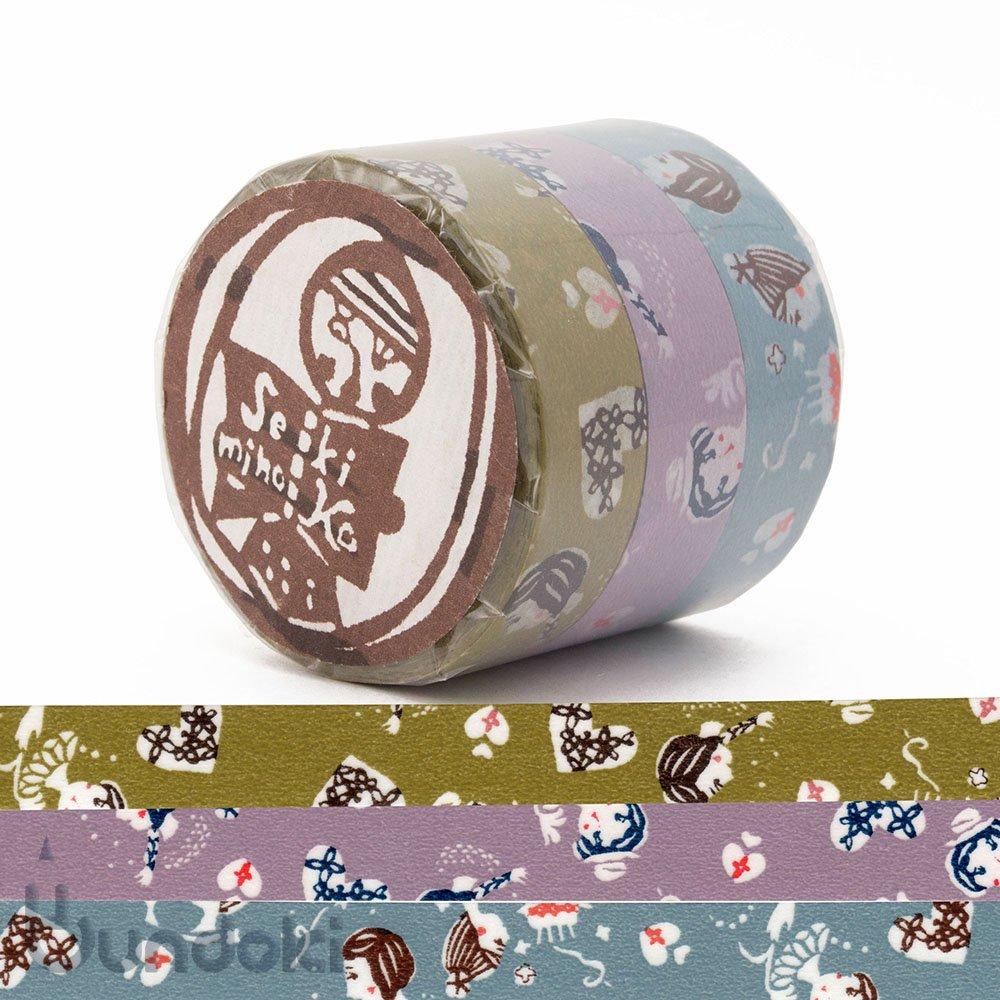 【倉敷意匠】おんなの子 マスキングテープ 3色セット(15mm)