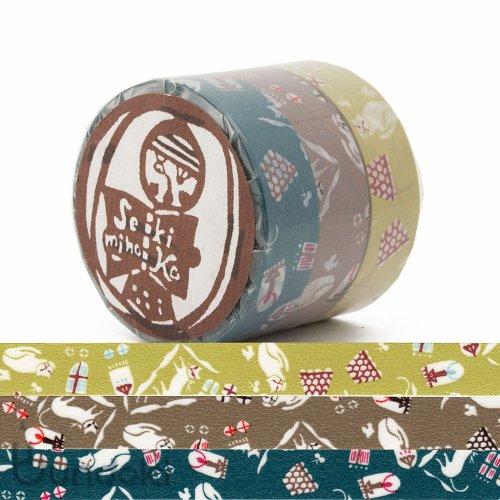 【倉敷意匠】猫屋敷 マスキングテープ 3色セット(15mm)