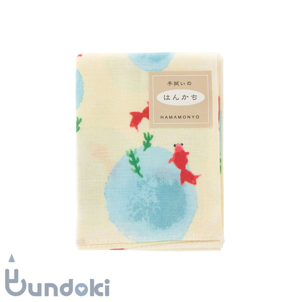 【濱文様】てぬぐいのはんかち/  水彩金魚