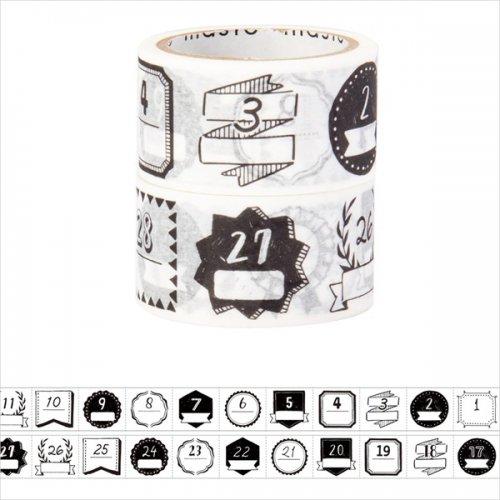【Mark's/マークス】水性ペンで書けるマスキングテープ/ミシン目入り・手帳デコ2巻セット 「マステ」 (日付柄・手描きモノクロ)