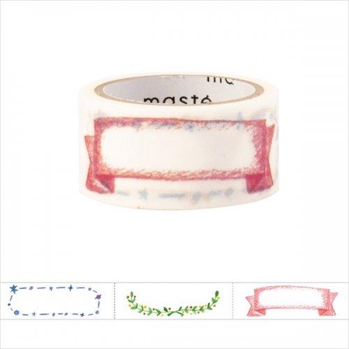 【Mark's/マークス】水性ペンで書けるマスキングテープ/ミシン目入り・手帳デコ/「マステ」(タイトル柄・イラスト)