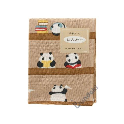 【濱文様】てぬぐいのはんかち/ パンダの図書館