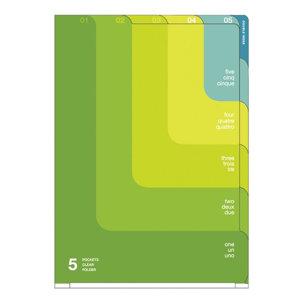 【MIDORI/ミドリ】5ポケットクリアホルダー・A4/ツーウェイ柄 (黄緑)