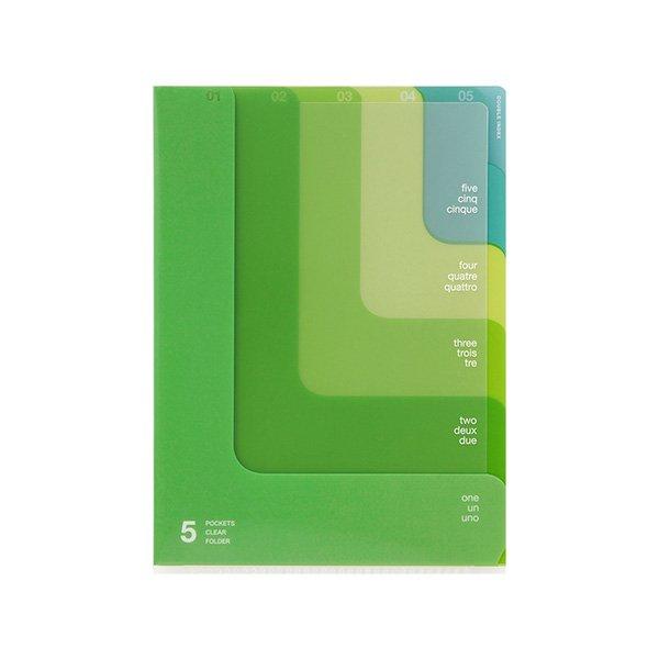 【MIDORI/ミドリ】5ポケットクリアホルダー・A5/ツーウェイ柄 (黄緑)