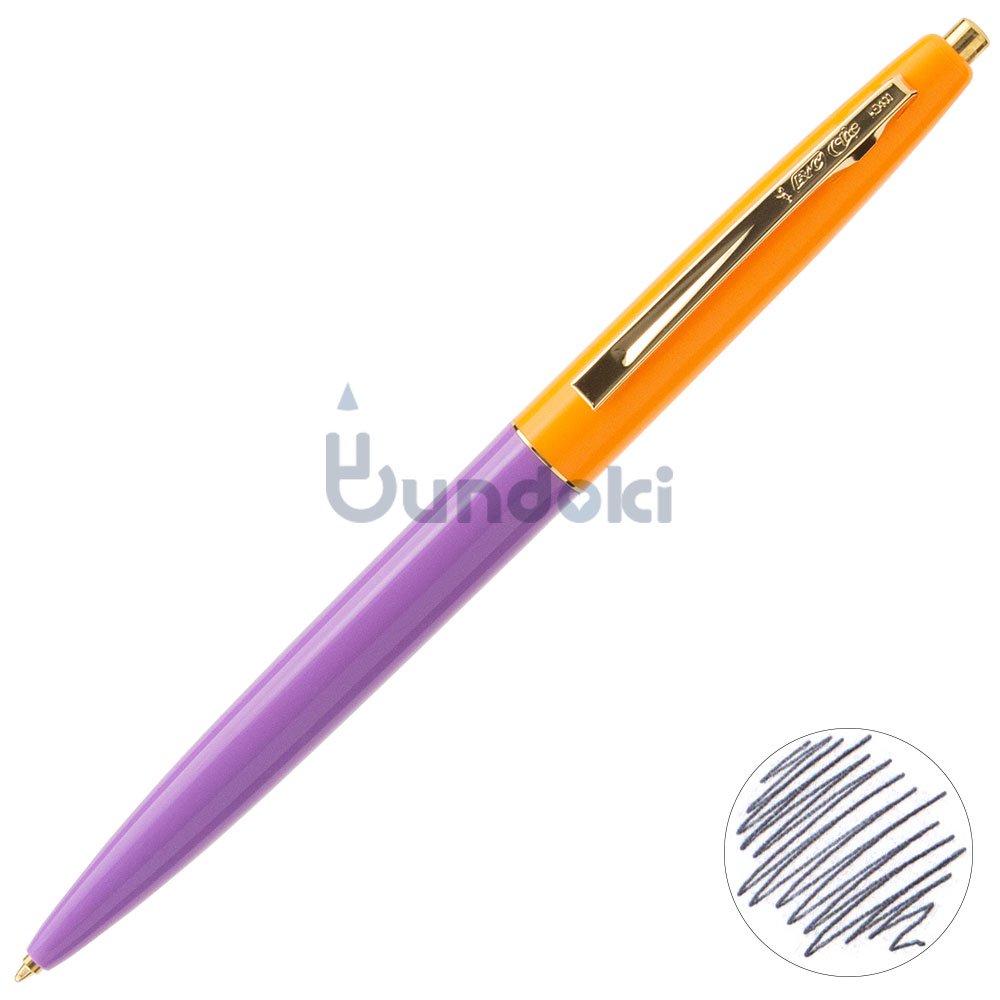 【BIC/ビック】クリックゴールドボールペン (ラベンダー×蛍光オレンジ)