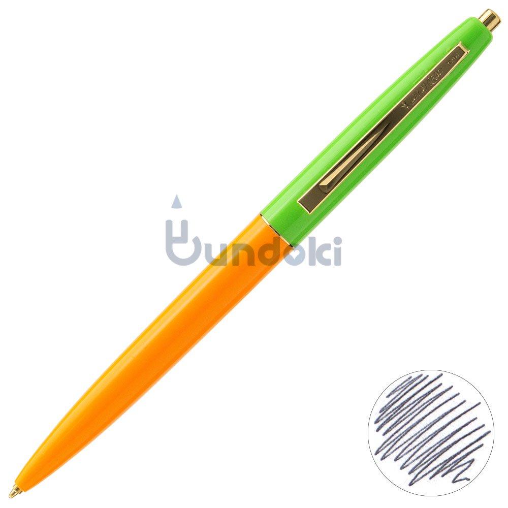 【BIC/ビック】クリックゴールドボールペン (蛍光オレンジ×アップルグリーン)