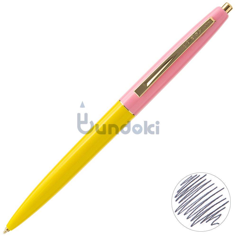 【BIC/ビック】クリックゴールドボールペン (イエロー×ベビーピンク)