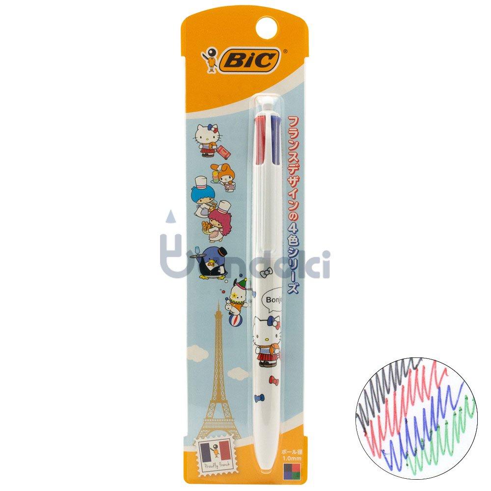【BIC/ビック】サンリオキャラクターズ4色ボールペン1.0 白軸 (キティ)