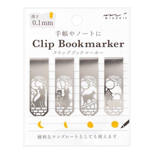 【MIDORI/ミドリ】ブックマーカー クリップ (ネコと月柄)
