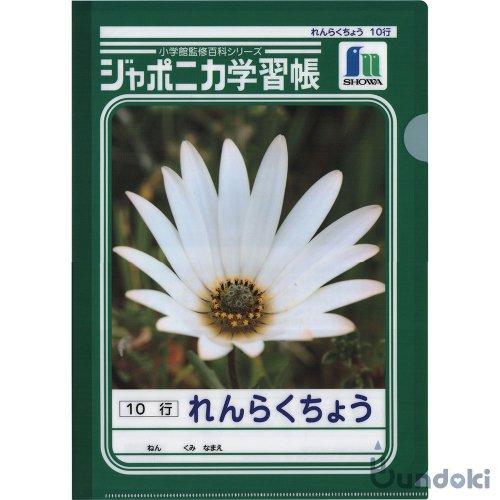 【ショウワノート】ポケットクリアファイル・A4 (B・れんらくちょう/花)