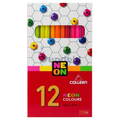 【コーリン色鉛筆/colleen】775六角 11色紙箱入り蛍光色鉛筆