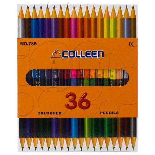 【コーリン色鉛筆/colleen】785丸 18本36色紙箱入り色鉛筆