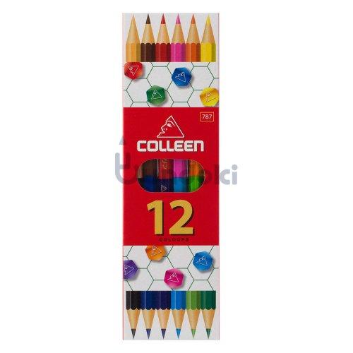 【コーリン色鉛筆/colleen】787六角 6本12色紙箱入り色鉛筆