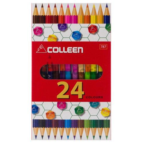 【コーリン色鉛筆/colleen】787六角 12本24色紙箱入り色鉛筆